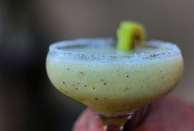 Sweeter than most margaritas but still with enough tang to tickle the taste buds, this kiwi margarita was the result of an experiment for cocktail drinks to serve on New Year's Eve.