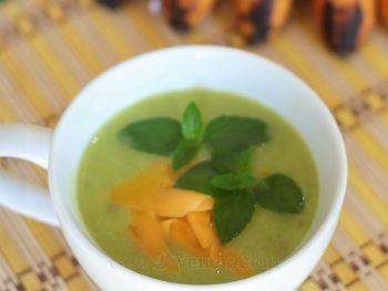 Made with roast duck bone broth, this pea and potato soup has all the rich flavors of roast duck which, I admit, can be a little overwhelming. So, to add a fresh note, some mint. It never fails to brighten and lighten up a dish.