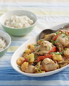 A lovely summery dish, chili chicken with fresh pineapple (pininyahang manok for you Filipino readers) has bold and vibrant flavors and colors. The browned chicken is braised in a mixture of coconut milk the natural juices that the pineapple expels during cooking.