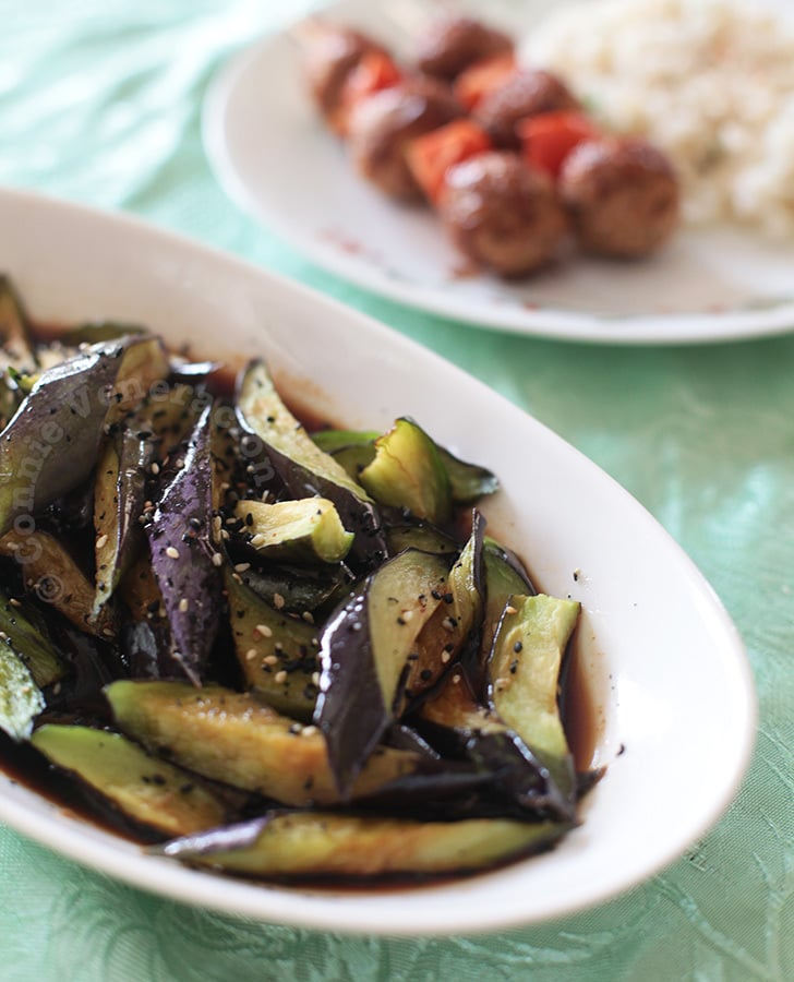 Flashed-fried eggplants with rice vinegar and soy sauce