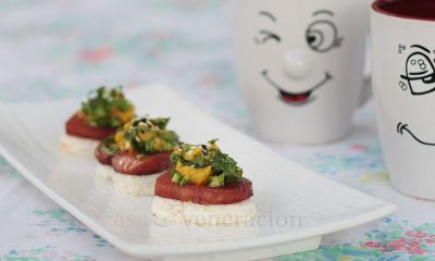For my SPAM mini open-faced sandwiches, lightly toasted bread were topped with SPAM slices were cooked a la musubi and served with a lovely mango-arugula salad.
