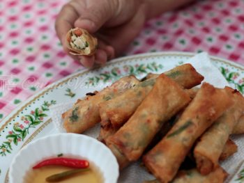 Tinapa (smoked fish), salted eggs and tomato spring rolls
