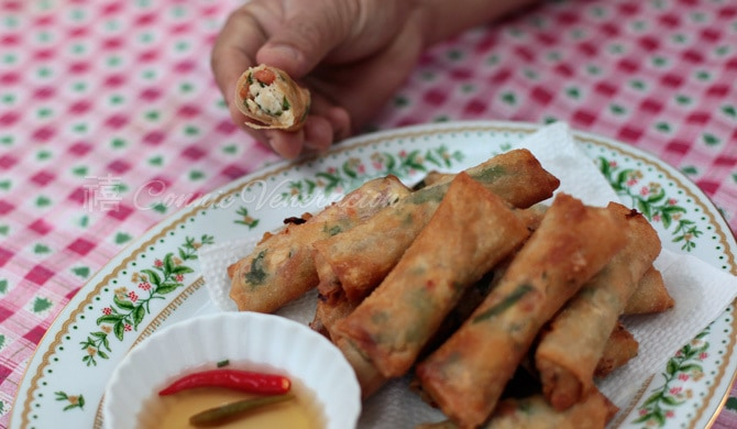 Tinapa (smoked fish), salted eggs and tomato spring rolls | casaveneracion.com
