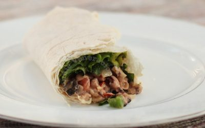 Vegetarian burrito with beans and mushrooms
