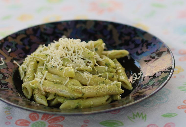 The best way to describe the avocado sauce is a no-cook creamy pesto. The creaminess is courtesy of the avocado which also imparts a slight sweetness. Overall, the sauce is a little bit tart, garlicky and full of the wonderful flavors of fresh sweet basil.