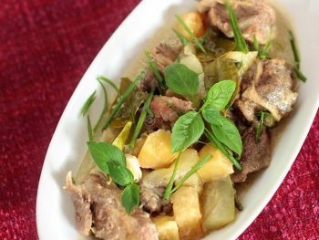 Beef with coconut milk and green curry