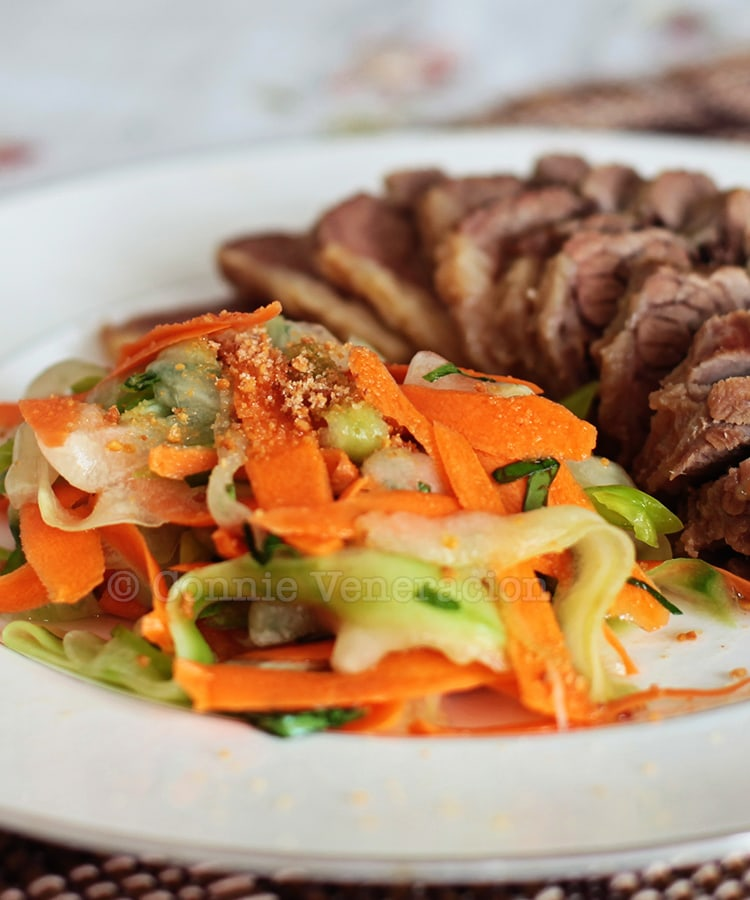 Cucumber and carrot salad with herbs and crushed peanuts