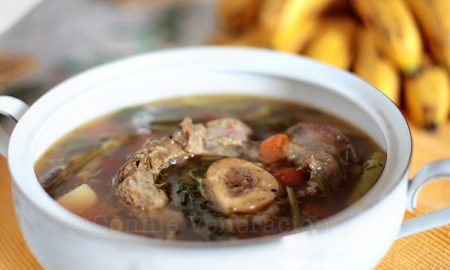 Sinigang na bulalo (beef shank and bone marrow sour soup)