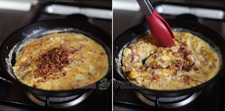 Cheesy Scrambled Eggs With Crispy Bacon and Sweet Corn recipe, step 2: Stir until the eggs curdle