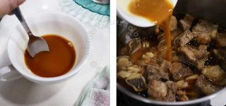 Making the sweet salty sauce for contemporary beef pares