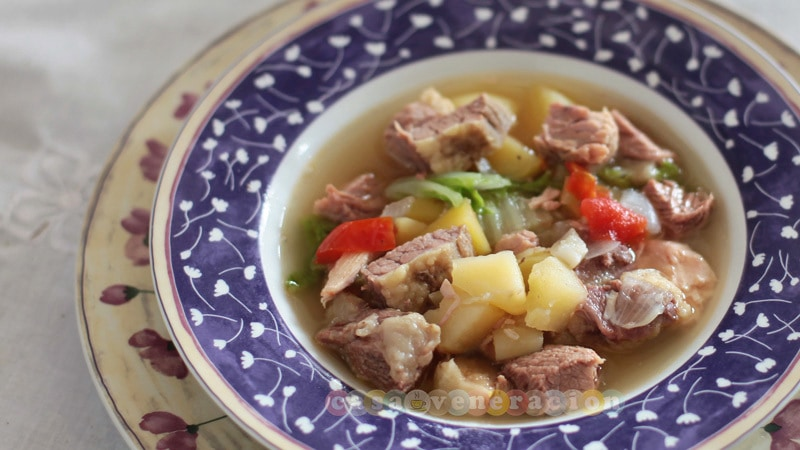 The chunkiest boiled beef and vegetables soup