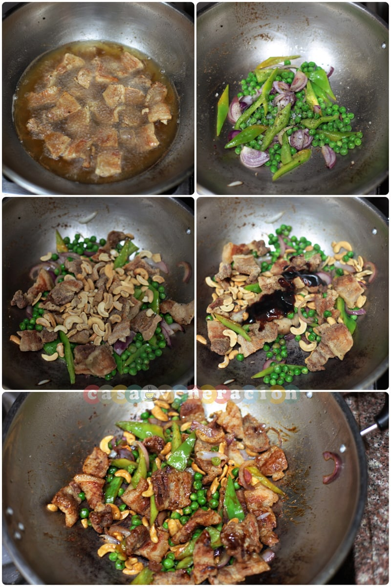 15-minute stir fried pork, peas and cashew nuts