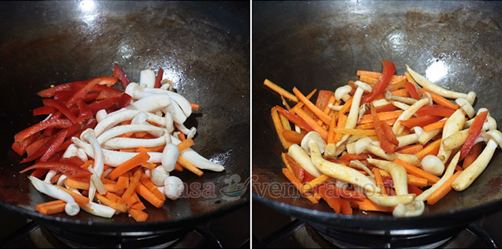 Crispy Pork Chunks With Honey Balsamic Sauce Recipe, Step 1: Saute the bell pepper, carrot and mushrooms with a bit of salt and pepper
