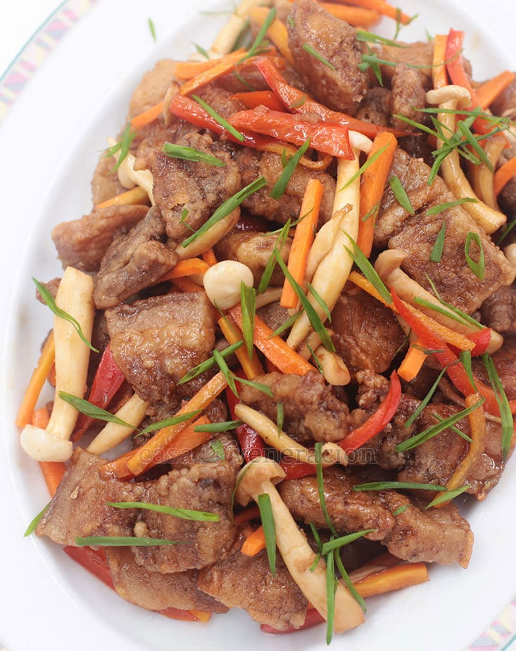 It's essentially sweet and sour pork but using balsamic vinegar for the sour component gave the dish a more nuanced finish. It's not a saucy, drippy dish either — the amount of honey-balsamic mixture is just enough to glaze the meat.