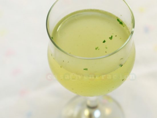 Lime, rum and basil cocktail