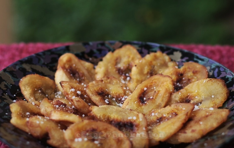 Twice-fried saba bananas, patacones (tostones) style at casaveneracion.com