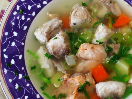 Ukha-inspired fish and vegetable soup