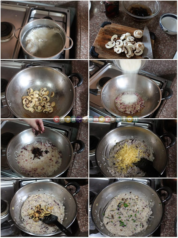 How to cook fish and mushrooms risotto