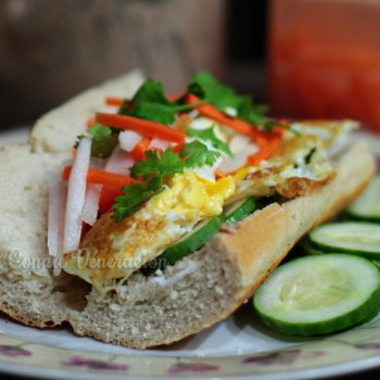 Banh mi sandwich with fried eggs