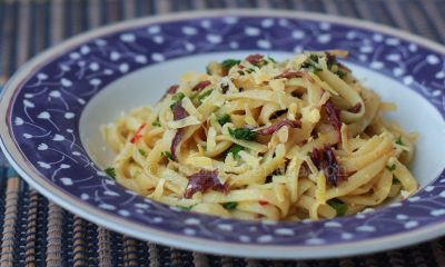 Linguine with anchovies and caramelized lemons
