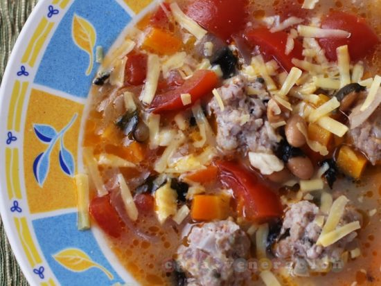 Meatballs, tomatoes and Parmesan soup