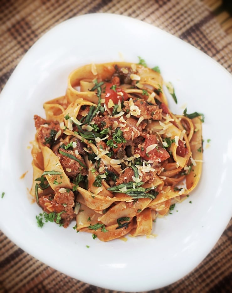 Peppers and Italian sausage meat pasta