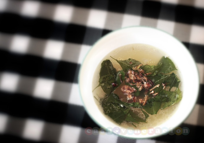 Soup with ginger and chili leaves