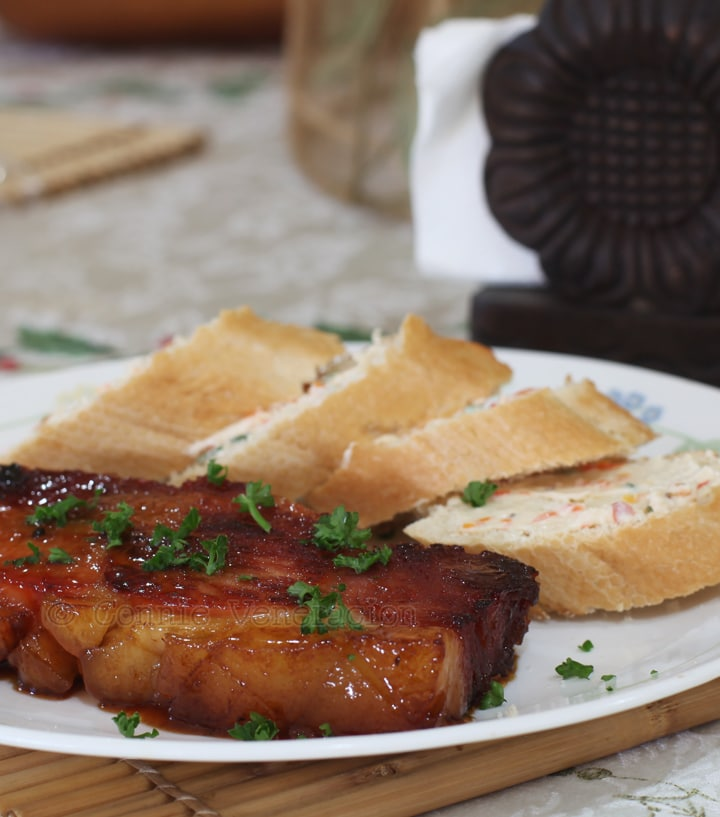 ham steak with butter and honey