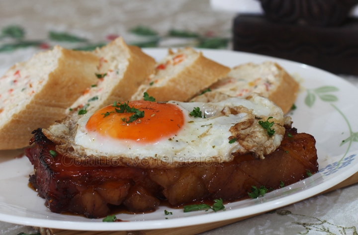 ham steak with butter, honey and egg