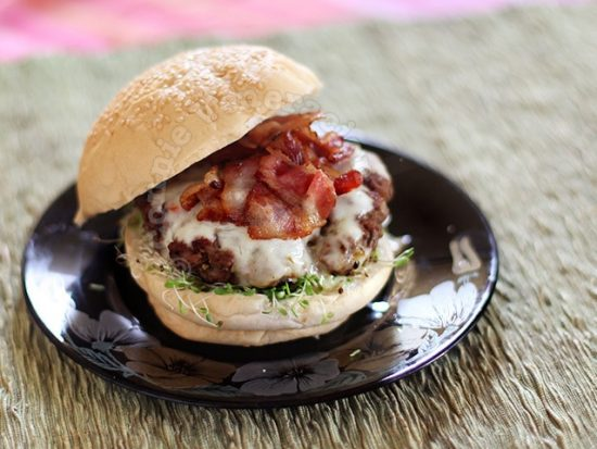 Lunch for one: bacon cheeseburger