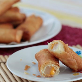 Tikoy (nian gao) and cheese turon (fried spring rolls)