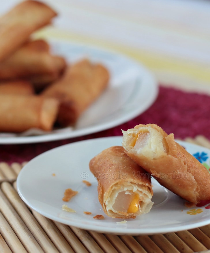 Tikoy (nian gao) and cheese turon (fried spring rolls) | casaveneracion.com