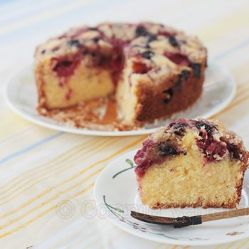 Strawberry and blueberry streusel cake