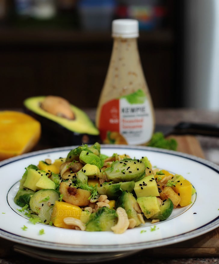 The roasted sesame dressing that went with the Brussel sprouts, avocado and mango salad   casaveneracion.com