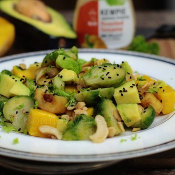 The roasted sesame dressing that went with the Brussel sprouts, avocado and mango salad