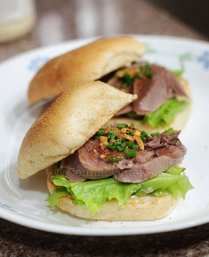 Spicy ox (beef) tongue sandwiches