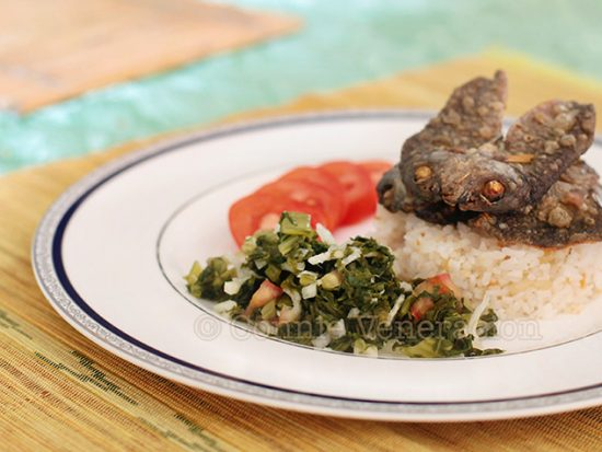 Today's lunch: fried sun-dried danggit (rabbitfish) and ensaladang mustasa (mustard leaves salad)