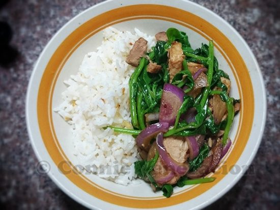 Soy-ginger pork belly and spinach