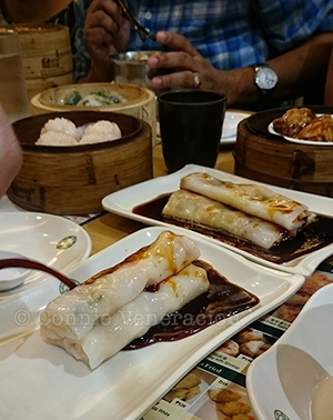 Tim Ho Wan: vermicelli rolls with BBQ pork and shrimp