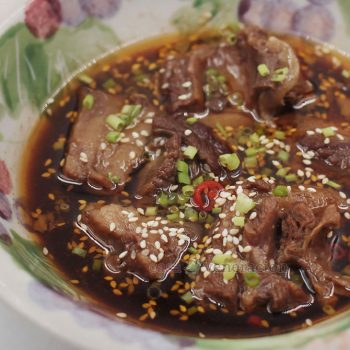 Korean beef stew a la House of Kimchi: Deconstructed recipe from the Korean beef stew of the House of Kimchi (now defunct). Stewing beef is slow cooked with beef bones, seasonings and spices.