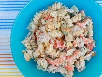 Chicken Shrimp Salad With Pasta and Almonds