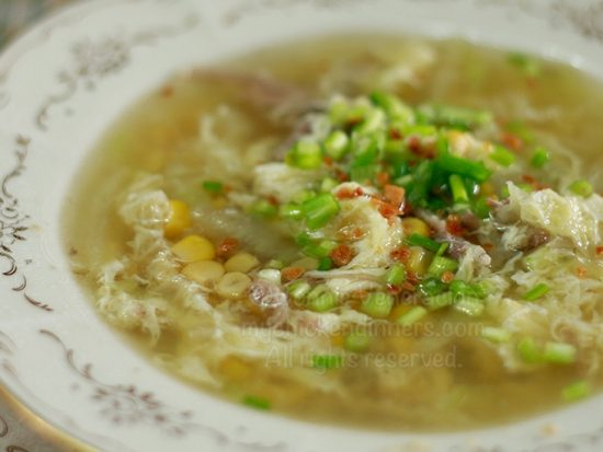 Duck Egg Drop Soup With Corn and Cabbage