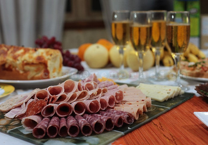 New Year's Eve at CASA Veneracion: home baked cheese and onion bread, tuna sashimi, pan-seared scallops, cold meat and cheese platter, smoked salmon and prawns bruschetta