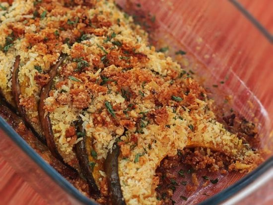 Baked squash with butter, garlic and Parmesan