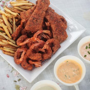 Spice-and-herb-battered fish (and shrimps!) and chips