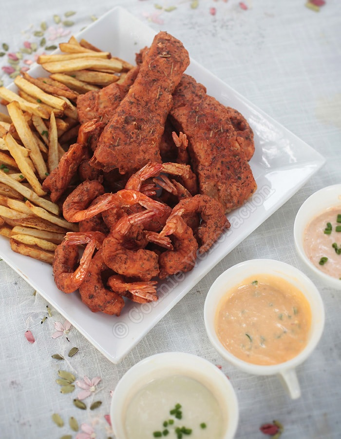Spicy fish (and shrimps!) and chips