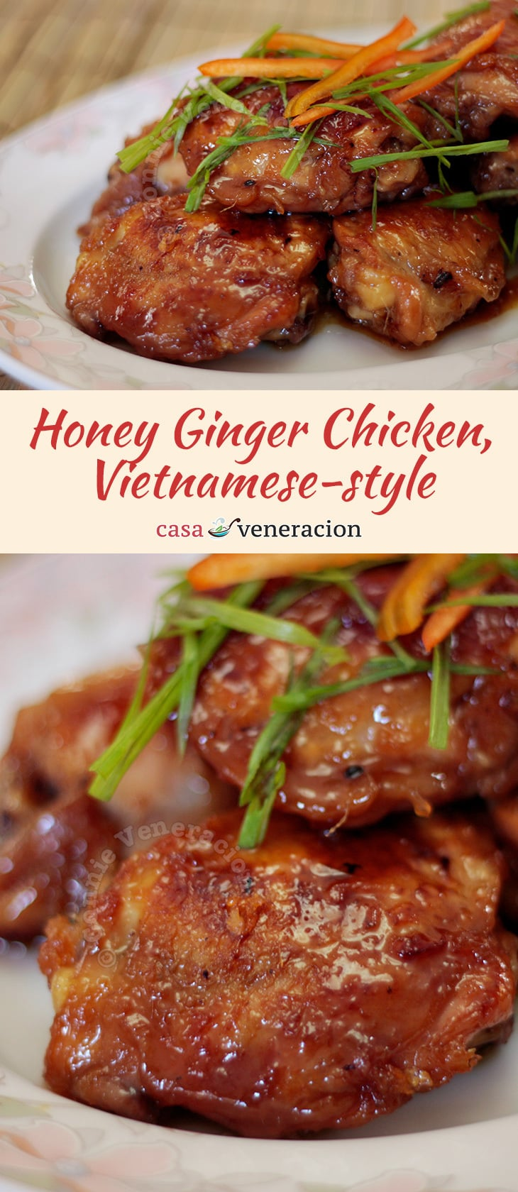 The basic honey ginger chicken is spiked with lime juice and finely chopped bird's eye chilies. The resulting flavor is as complex as it is pleasing.