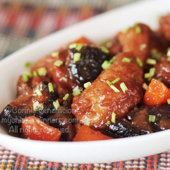 Chicken and Black Mushrooms Braised in Soy-ginger Sauce