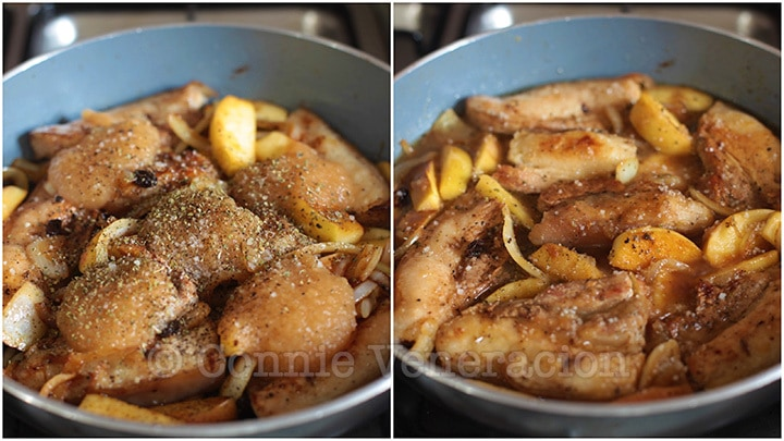 One pot cooking: pork and apple stew