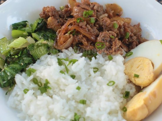 Taiwanese braised minced pork over rice (lu rou fan)